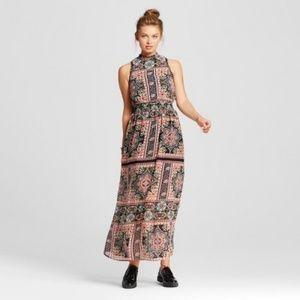 Xhilaration Smocked Mock Neck Boho Maxi Dress XL
